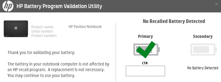 HP Battery Program Validation Utility