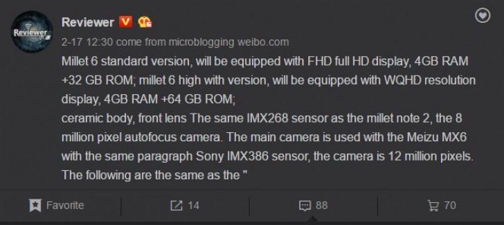 Xiaomi Mi 6 Weibo