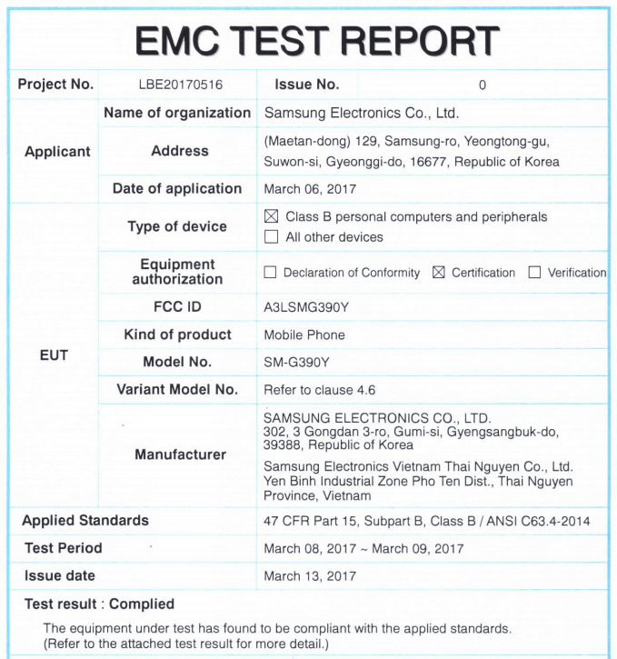 Samsung Galaxy Xcover 4 EMC Test Report