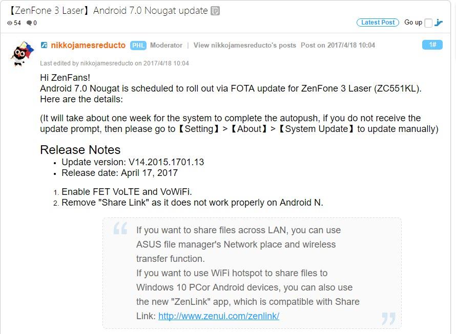 Asus Zenfone 3 Laser Specifications