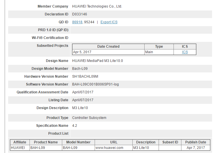 Huawei MediaPad M3 Lite 10