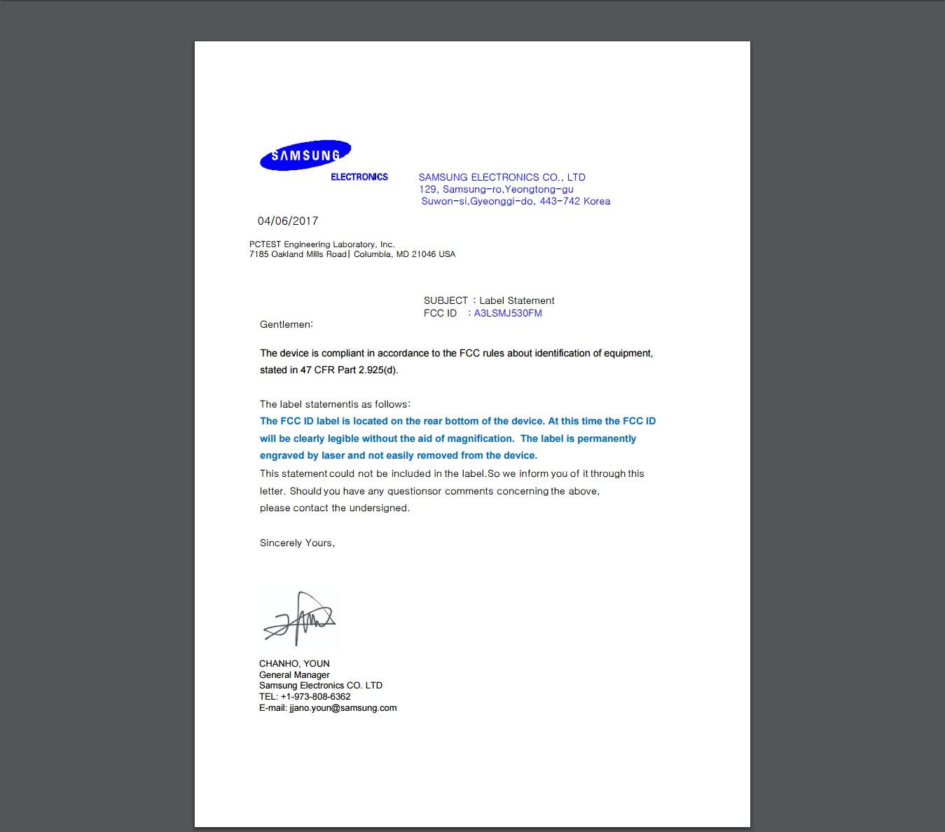 Samsung Galaxy J5 2017 FCC Letter