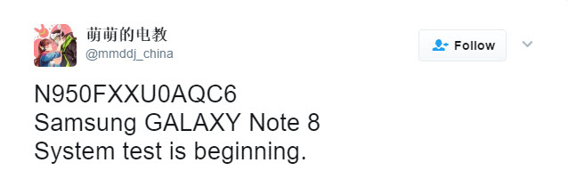 Samsung Galaxy Note 8 Twitter