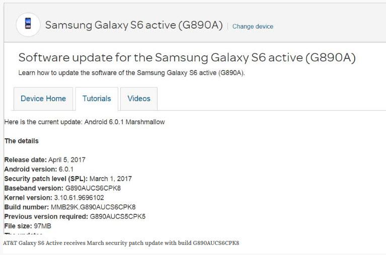 Samsung Galaxy S6 Active Update