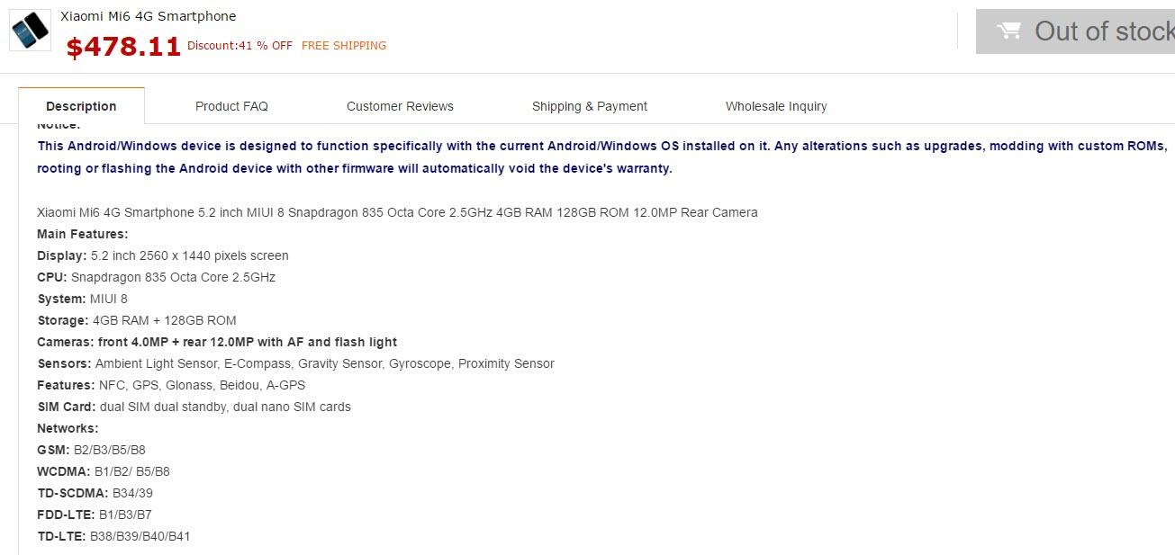 Xiaomi Mi6 Specifications