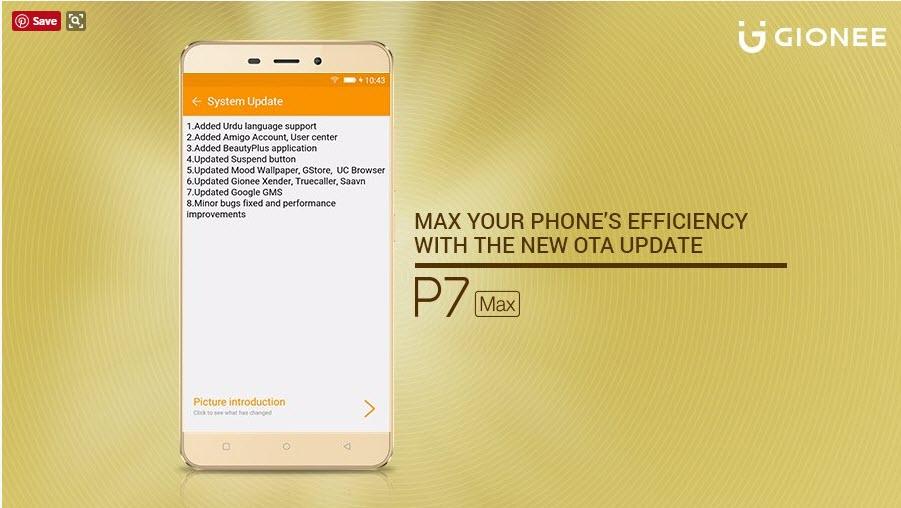 Gionee P7 Max Update Pushes New Features and Improvements