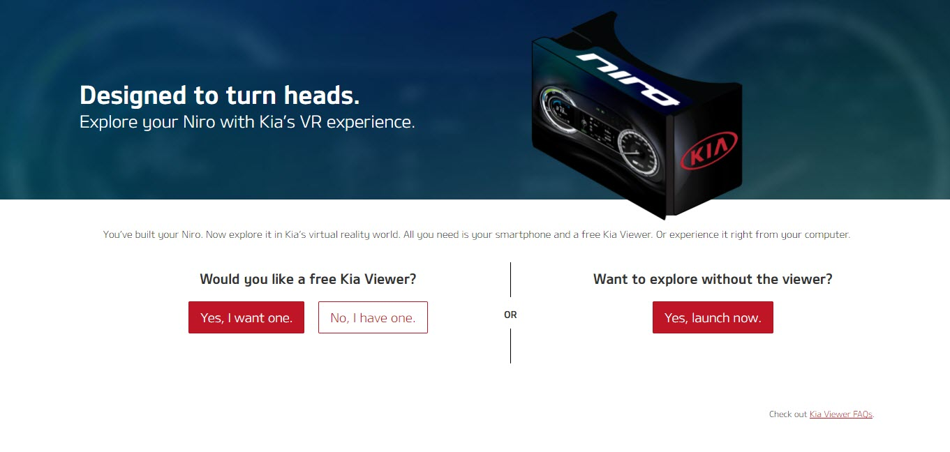 Kia Google Cardboard VR headset Initial screen