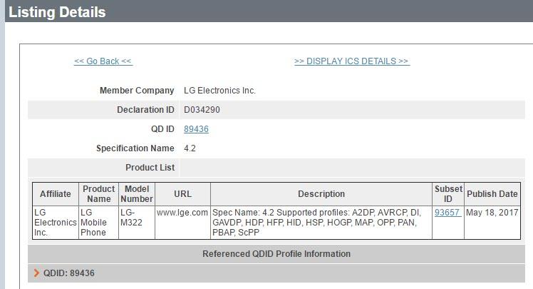 LG M322 Bluetooth