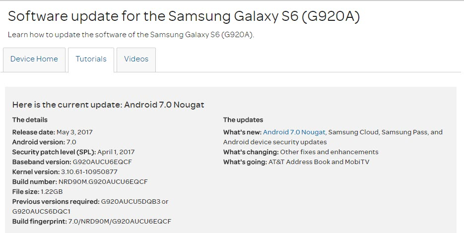 AT&T Pushes Android 7 0 Nougat For Samsung Galaxy S6, S6