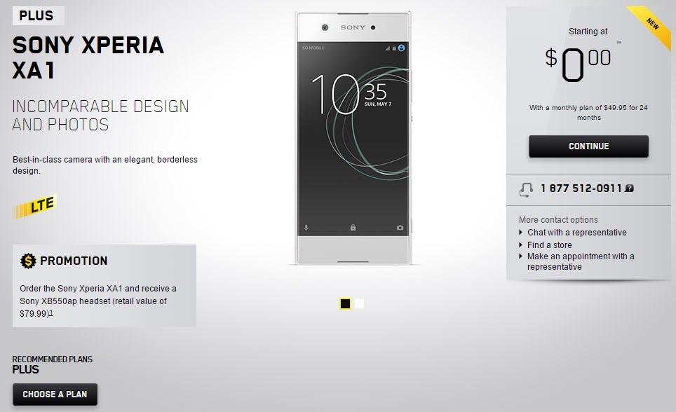 Sony Xperia XA1 sale page