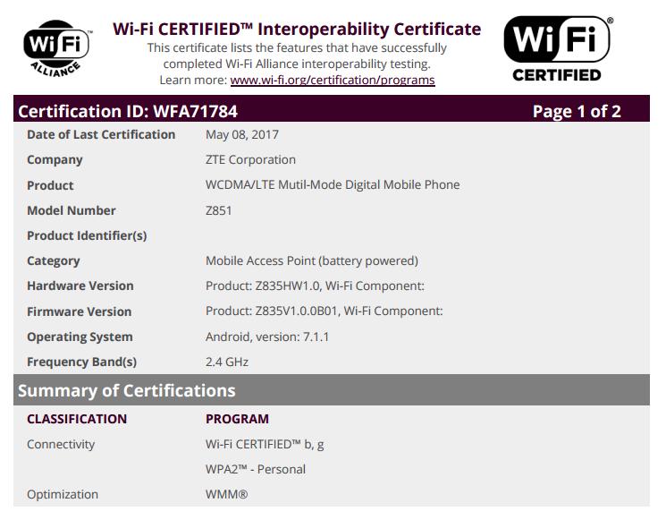 ZTE Z851 WiFi Alliance