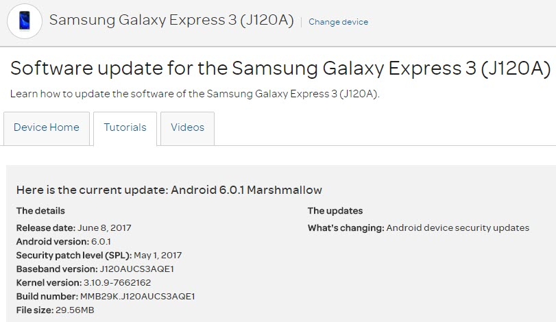 AT&T Galaxy Express 3 May update