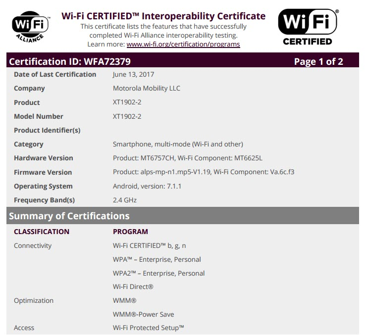 Moto E4 Wi-Fi Certification