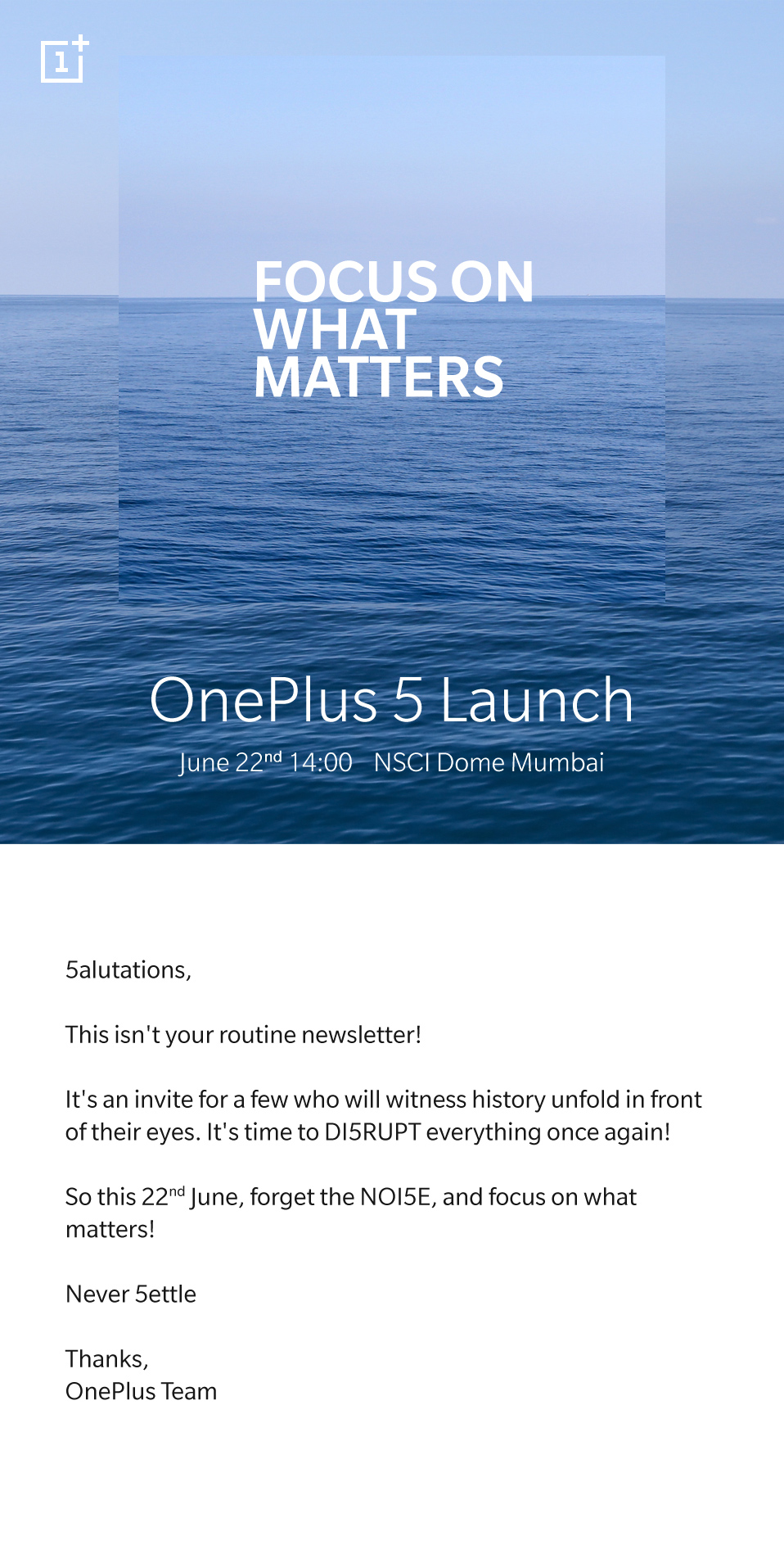 OnePlus 5 Launch Event Invitation Letter