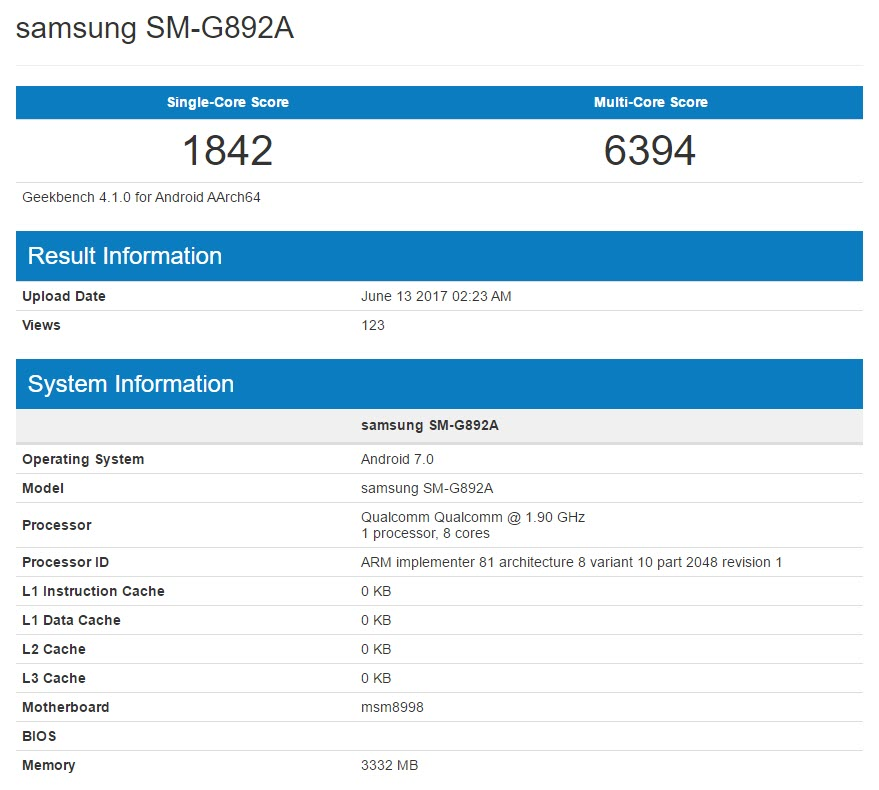 Samsung Galaxy S8 Active Geekbench