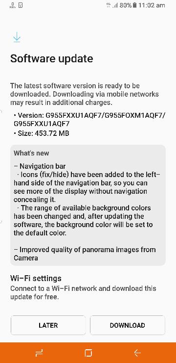 Samsung Galaxy S8 June Update
