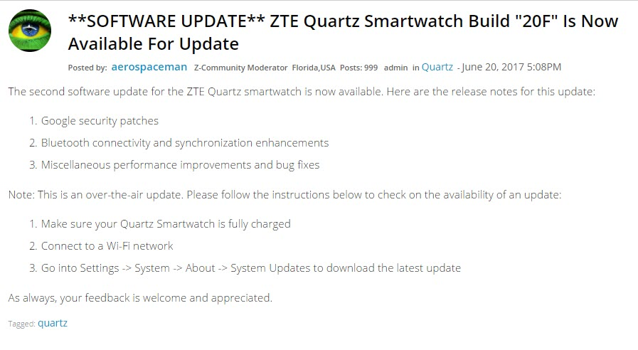 what exactly zte quartz update growth the