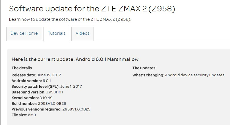 ZTE ZMAX 2 (Z958) Software Update