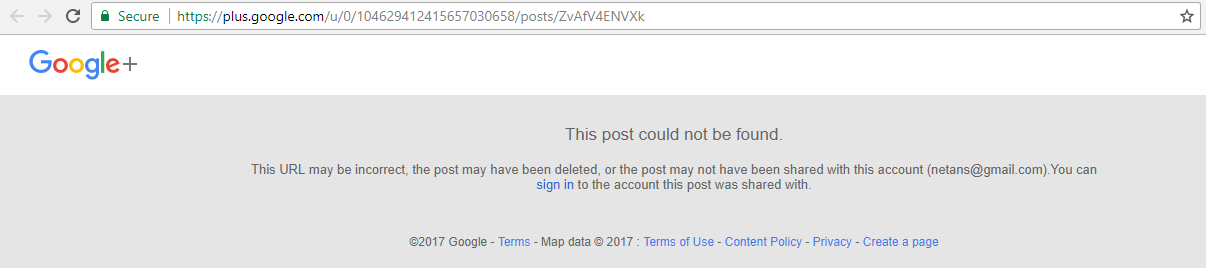 Google+ deleted post