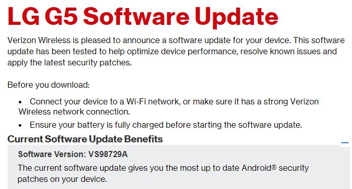 LG G5 software updates