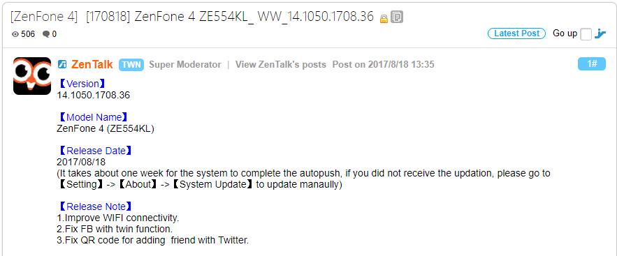 ZenFone 4 Update