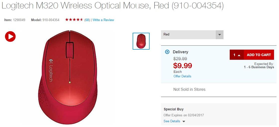 Logitech M320 wireless optical mouse
