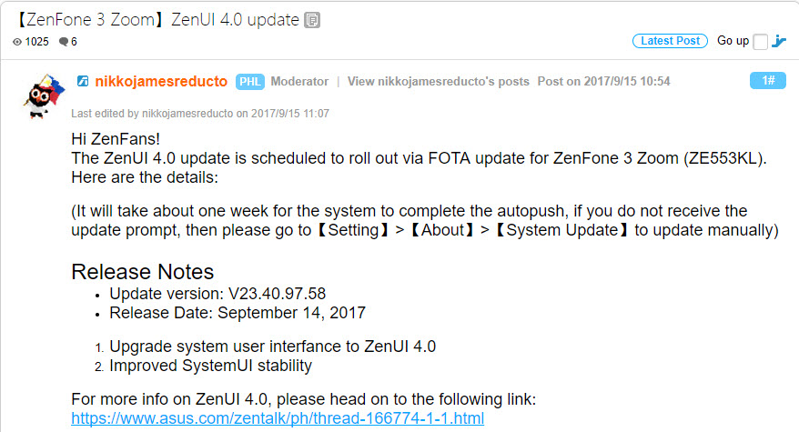 Asus ZenFone 3 Zoom Update