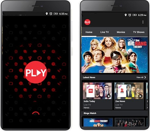 Vodafone Play Home Screen