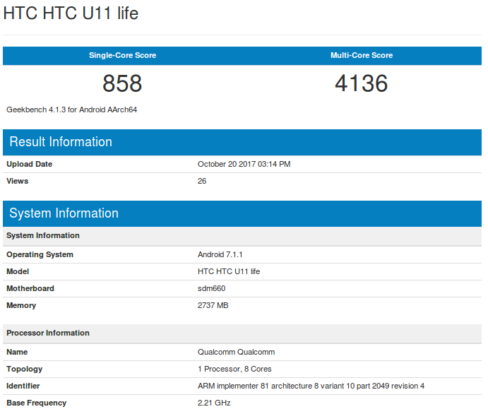 HTC U11 Life Geekbench