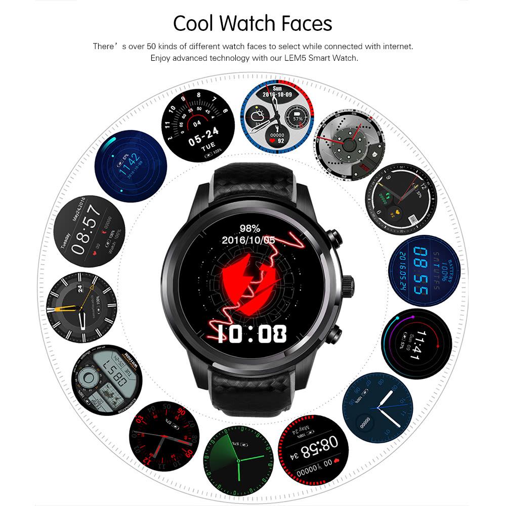 LEMFO LEM5 Smart Watch Phone Features
