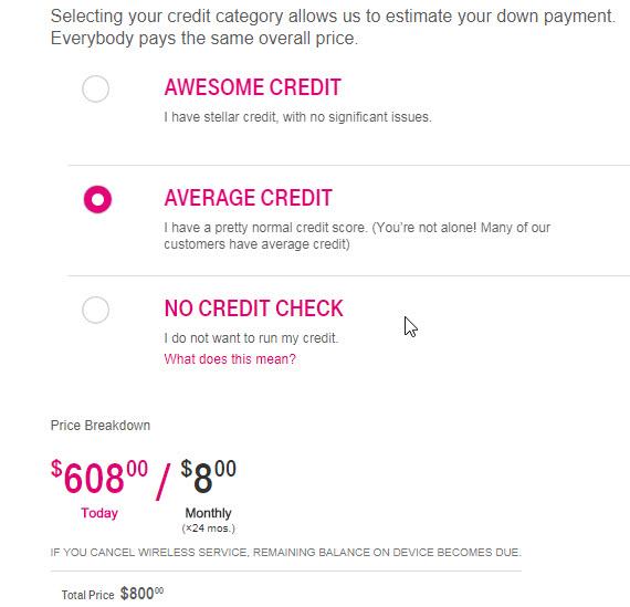 LG V30 Average Credit