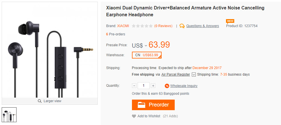 Xiaomi Dual Dynamic Driver+Balanced Armature Active Noise Cancelling Earphone Headphone