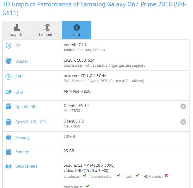 Samsung Galaxy On7 Prime 2018 GFXBench
