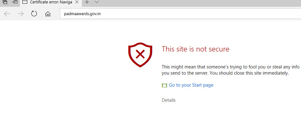 Padma Awards official website plagued with security