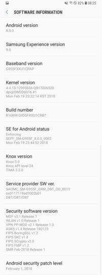 Samsung Galaxy S8 Android Oreo 2