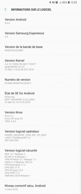Samsung Galaxy Note 8 Android Oreo