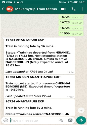 Train schedules WhatsApp