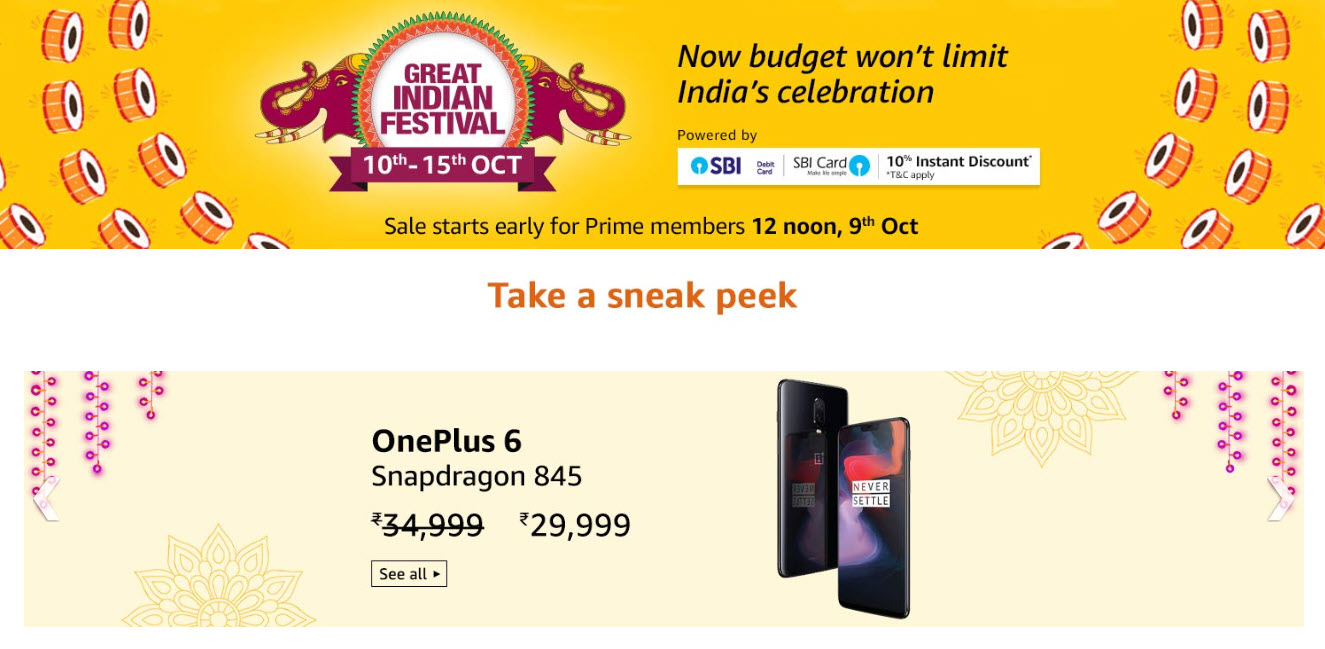 Amazon Great Indian Festival OnePlus 6