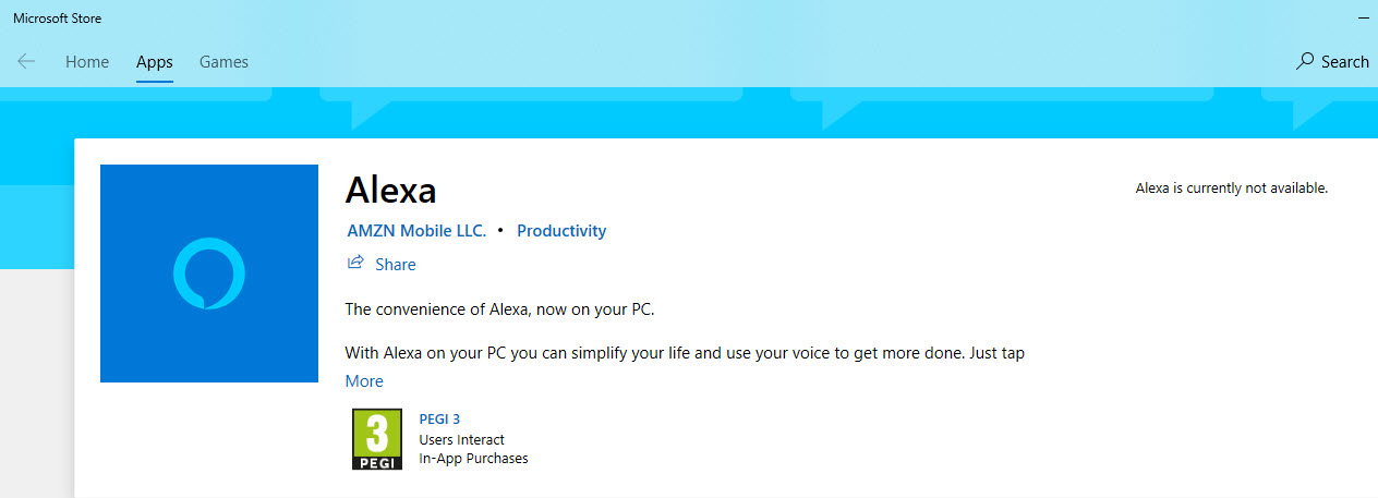 Amazon Alexa Microsoft Store