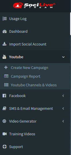 SociLive Stream navigation menu
