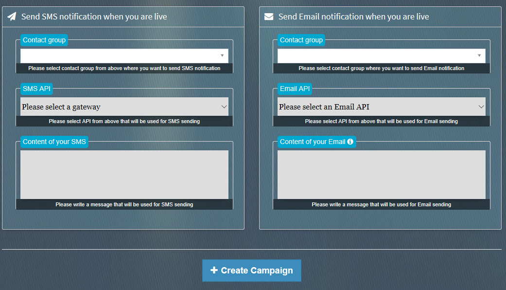 SociLive Stream sms and email