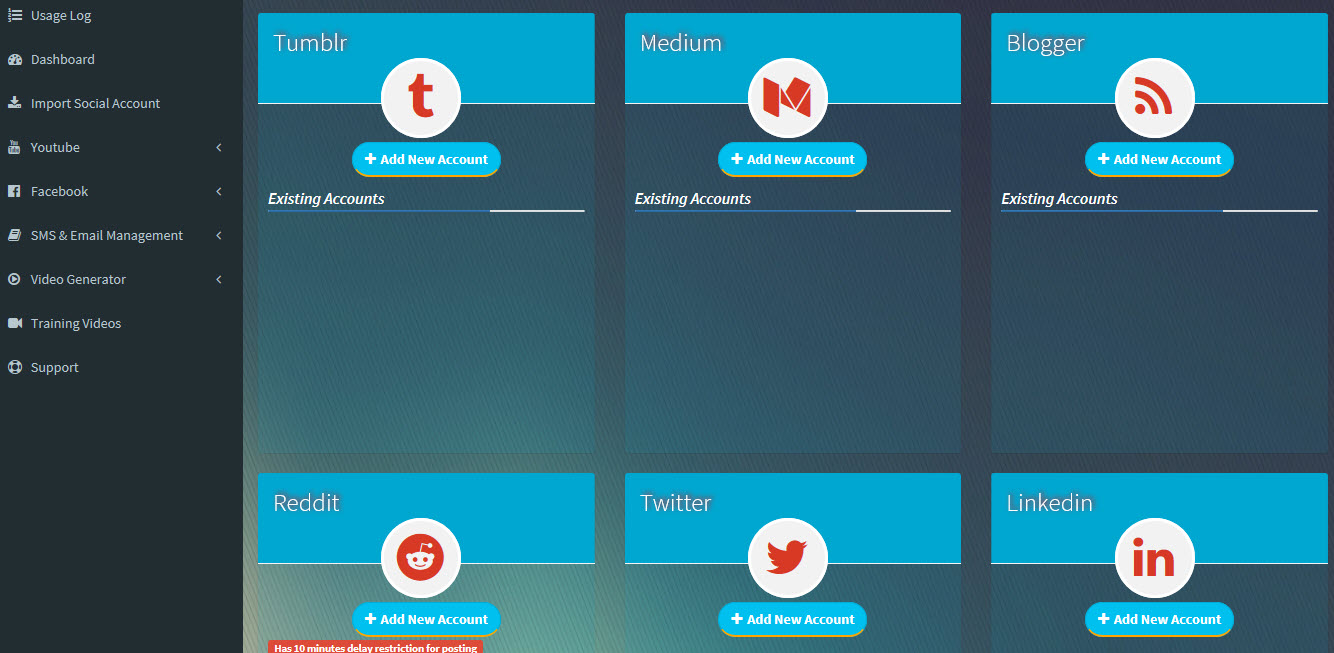 SociLive Stream social accounts