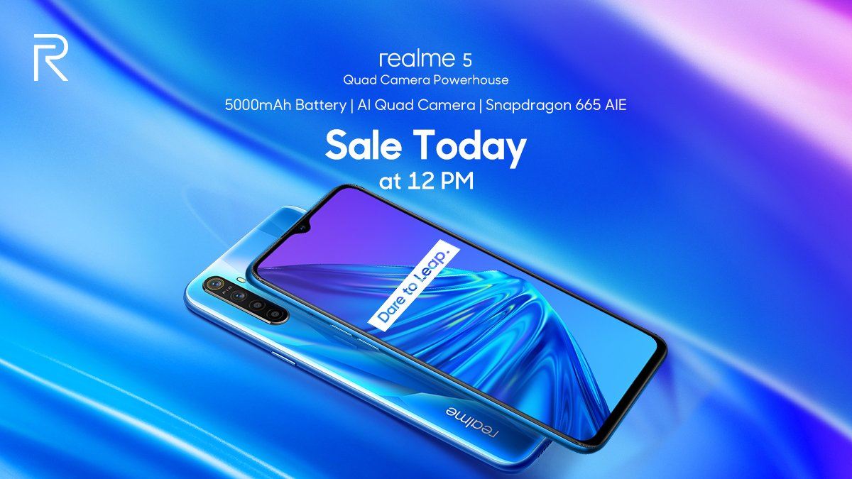 Realme 5 sale today at 12 PM on Flipkart
